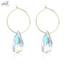 Badu Gold Hoop Earrings for Women Round Circle Crystal Pendant Wedding Jewelry Mother Gift Pendientes Mujer Moda