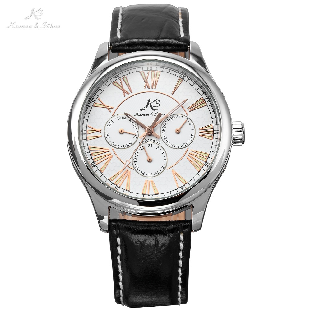 KS Roman Silver Steel Case 6 Hands Date Day Automatic Winding Mechanical Leather Band Analog Mens Wrist Dress Wrist Watch /KS085 ks watches luxury date day display relogio masculino leather band automatic self winding men mechanical wrist watch gift ks183