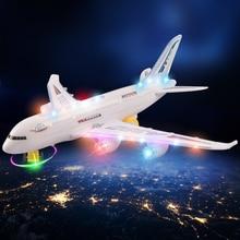 Diyアセンブリエアバス航空機の自動操縦フラッシュサウンド航空機音楽照明おもちゃ電動飛行機diyおもちゃ子供gif
