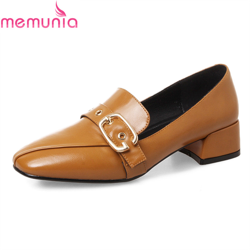 MEMUNIA big size 34-43 2018 spring autumn fashion casual shoes low heel square toe buckle solid simple women shoes memunia 2017 fashion flock spring autumn single shoes women flats shoes solid pointed toe college style big size 34 47