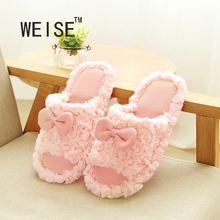 WEISE Free Shipping Summer Slip Heavy-Bottomed Cute Cartoon Wooden Floor Home Indoor Shoes,Women Slippers At Home Spring