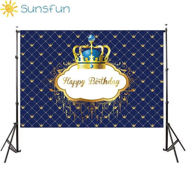 Sunsfunวันเกิดพื้นหลังLittle Prince Royal Crown Baby Showerของหวานตกแต่งตารางทารกแรกเกิดถ่ายภาพแบนเนอร์