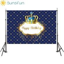 Sunsfun birthday background little prince royal crown baby shower dessert table decor newborn photoshoot birthday party banner