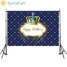 Sunsfun誕生の背景王子ロイヤルクラウンベビーシャワーデザートテーブル装飾新生児写真撮影誕生日パーティーバナー