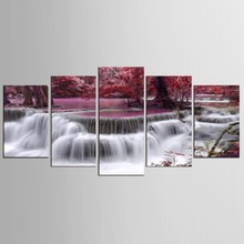 5 Panels Wall Art Canvas Landscape Paintings Red Maple Leaf Forest Decora For Decor Waterfall Artwork Picture