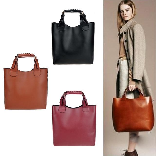 New Fashion Retro Vintage PU Leather Bag Leather Bags women Celebrity Tote  Shopping Adjustable Handle Handbag 44f3f81e50b60