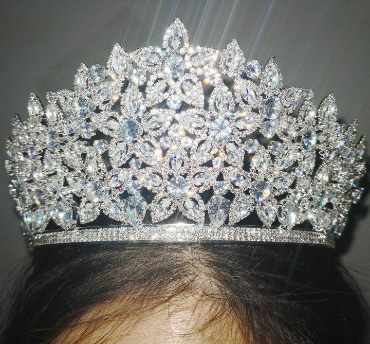 Silver Wedding Tiara for Bride Rhinestone Princess Crown Bridal Costume Jewelry Zircon Crystal Copper Headpiece Hair