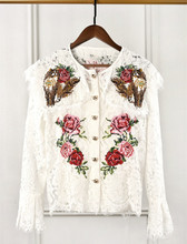 Spring autumn women's lace shirts Chic embroidered Flare sleeve Shirt Tops A114 цена 2017