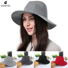 Lana sombreros para las mujeres de ala ancha Vintage Jazz tapas Casual de  Cachemira suave Fedora 023045cda516