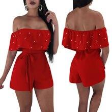 Womens Lady Mini Playsuit Jumpsuit Shorts Rompers Summer Beach Party Clubwear Off Shoulder Short Sleeve Sunsuit