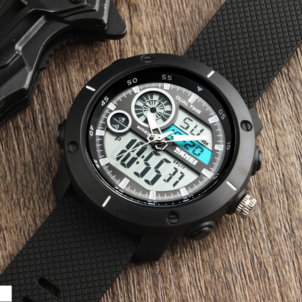 <font><b>SKMEI</b></font> Men Dual Display Sports Watches 2 Time Sport Watches For Men Alarm Digital Waterproof Watch Multifunctional Wristwatches image