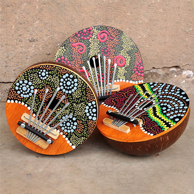 6 Keys Kalimba Thumb Piano Mbira Calimba Tunable Coconut Shell Painted Natural Mini Musical Keyboard Instrument Pattern Random