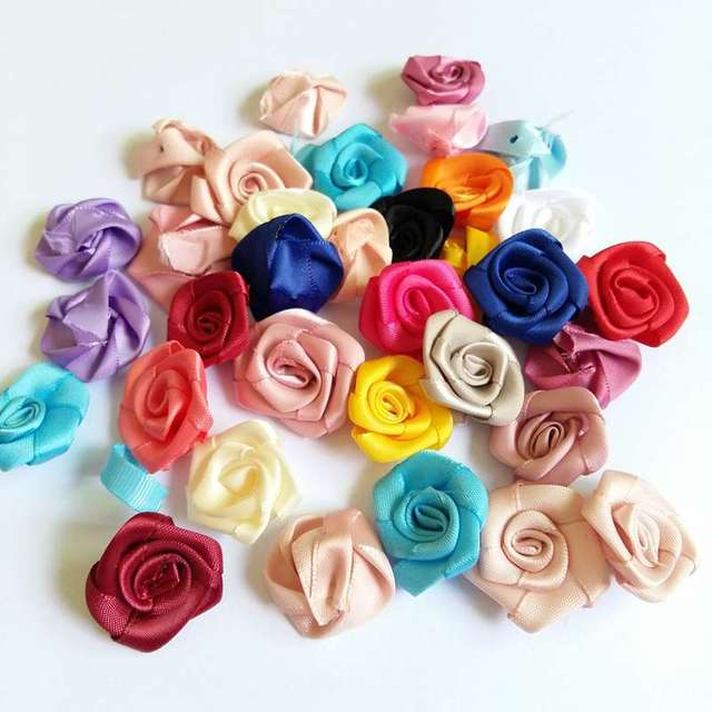 30pcs 30mm Mix Color small rose flower mini handmade satin ribbon rose head  wedding scrapbooking decoration clothes accessories 1e42a6ceb39a