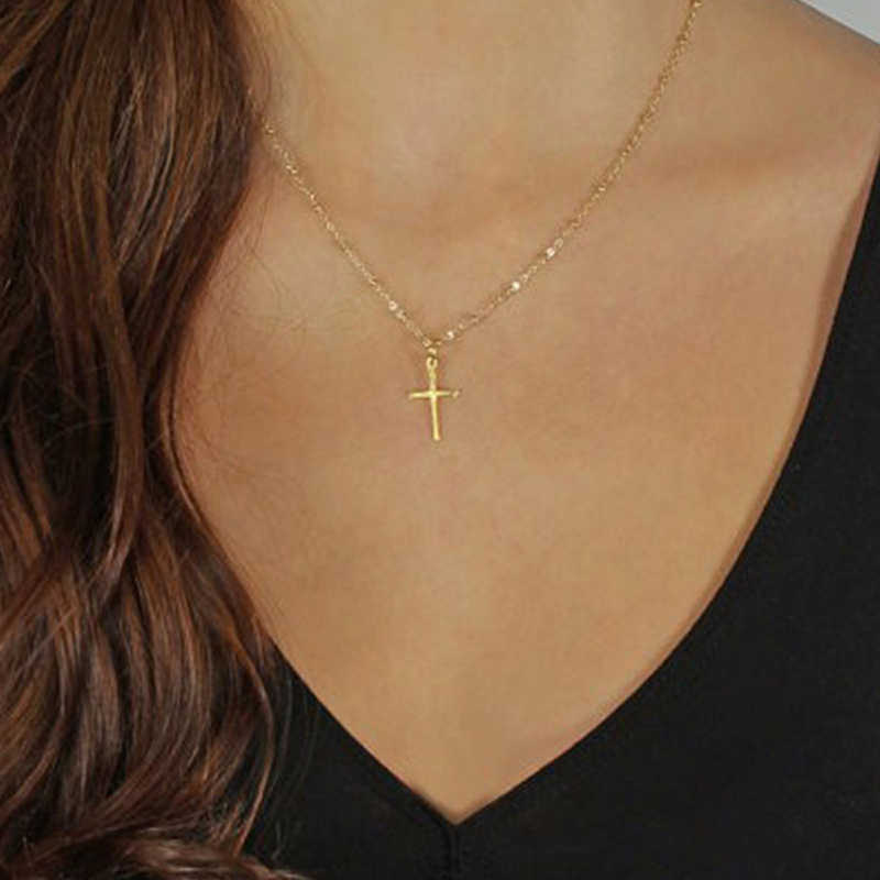 Модное летнее золотое ожерелье с крестом маленькое Золотое крест Религиозные ювелирные изделия 2019 оптовая продажа