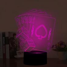Ilusión óptica de La Lámpara 3D Poker y Tamices, Color Cambiante de 7 Colores