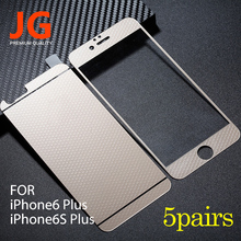 JG 5 pairs lot Front Back Tempered Glass Color Film 6plus Full Cover Screen Protector Honeycomb