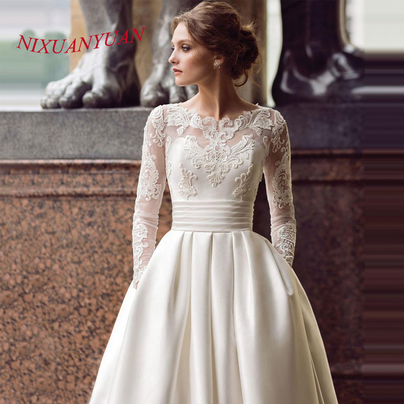 NIXUANYUAN Modest Long Sleeve Wedding Dress 2019 Scoop Satin Appliqued A line Bridal Gown with Pockets