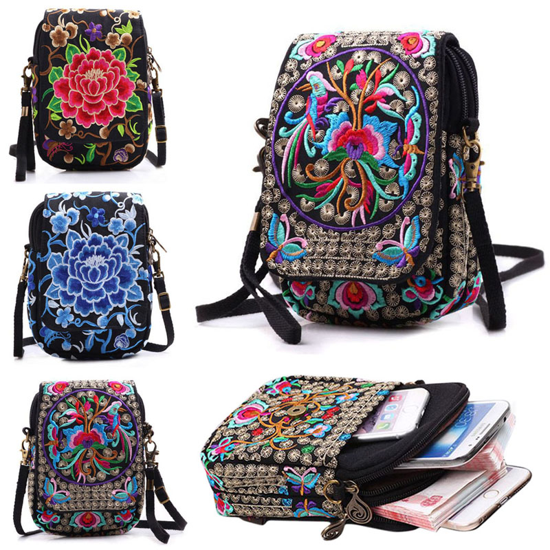 Coofit Embroidery Mini Phone Bag Women 2018 Retro Flowers Crossbody Bag Girls Folk Style Floral Print Canvas Small Satchel Purse simple women s satchel with cat print and canvas design