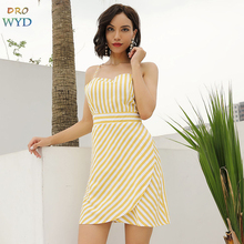 Summer Mini Sling Dress 2019 New Women Casual Boho Beach Sexy Stripes Backless Dress Slim Vacation Club Party Dressse Vestidos цена и фото