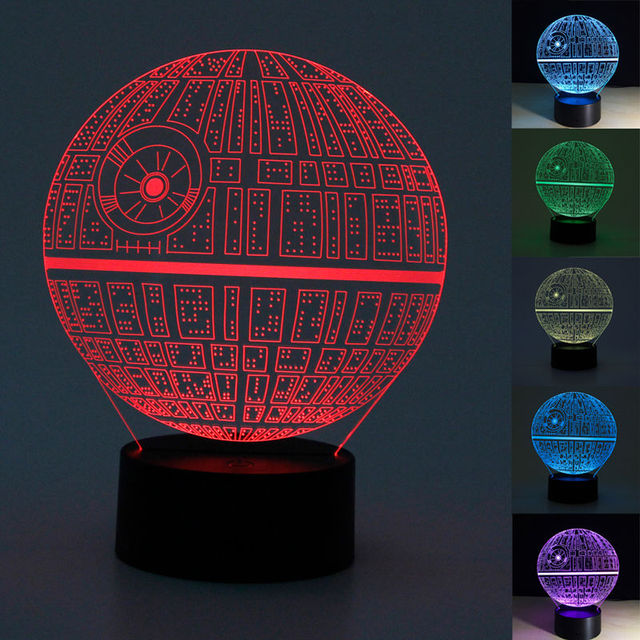 For Star Wars Death Star 3D LED Night Light Touch Switch Desk Table Lamp 7 Color New