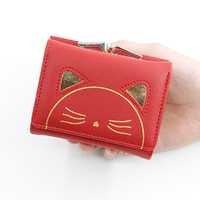Women Cute Cat Wallet Change Folder Short Multi function Coin Purse Card Sets Pu Leather Women Coin Wallet Casual Money Bags New