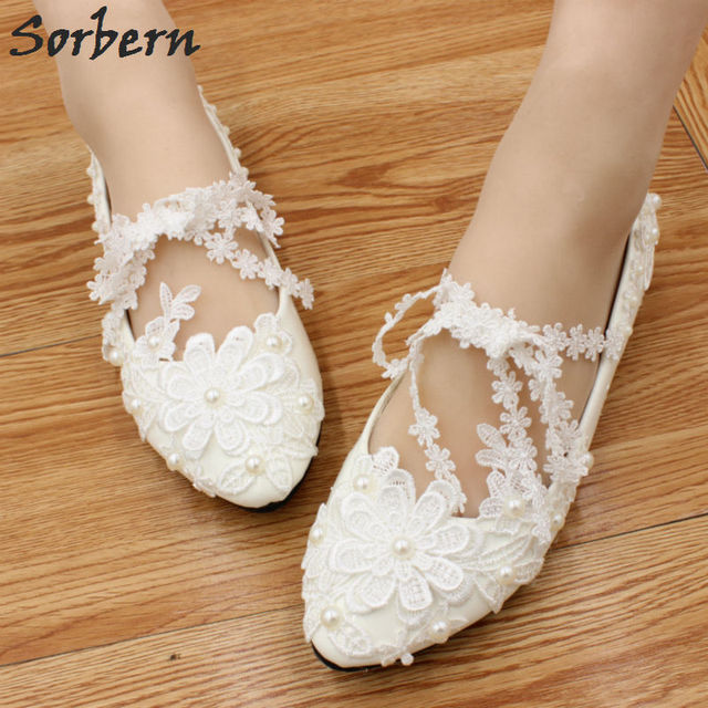 Sorbern Handmade Flat Wedding Party Shoes White Lace Bridesmaid Shoes Flat Heels  Ladies Shoes Size 40 Bridal Heels 2018 5da2c03e2aa7