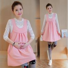 2016 new winter maternity dress suspenders skirt + Soft and comfortable lace long sleeved shirt Two pieces clothes