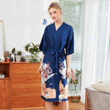 Roseheart Summer Fashion Sexy Women Robe Lingerie Sleepwear Faux Silk Printed Nightwear Plus Size M L XL Woven Robes Chinese