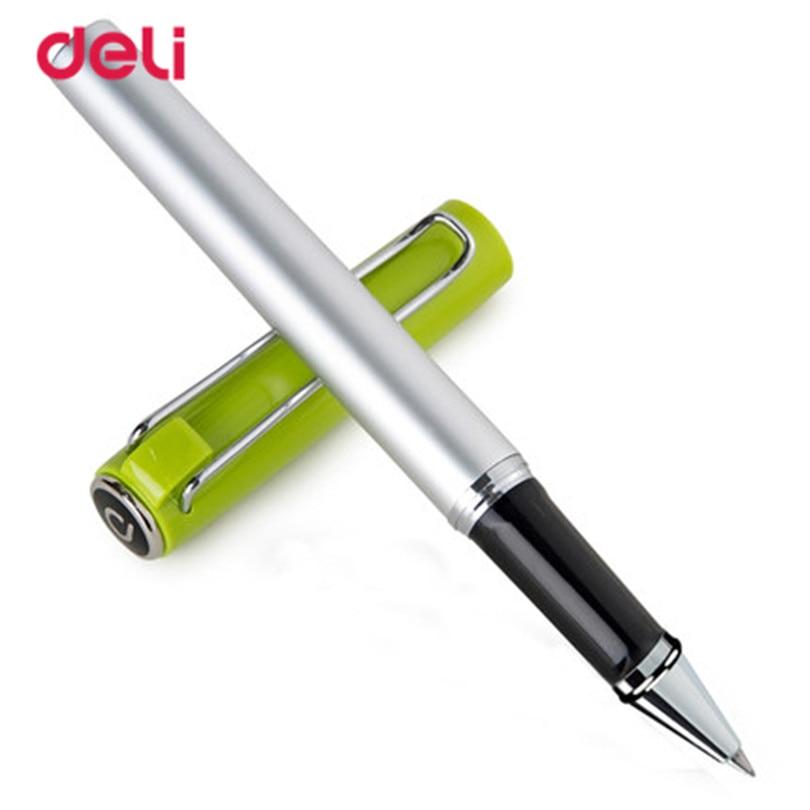 deli um esferografica caneta 0 5mm material escolar caneta escritorio da escola estacionario metal cristal caneta