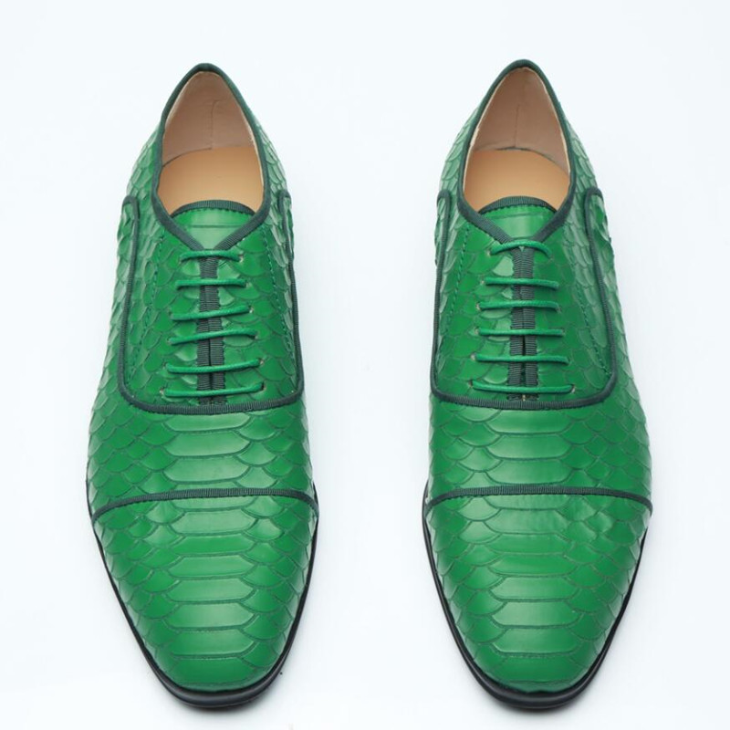 Green oxford shoes for men lace up flats leather formal office dress shoes snake classic elegant party shoes zapatilla hombre