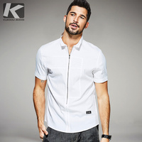 KUEGOU 2017 Summer Mens Fashion Shirts Zipper Black White Color Brand Clothing Man's Short Sleeve Clothes Male Slim Tops 25507