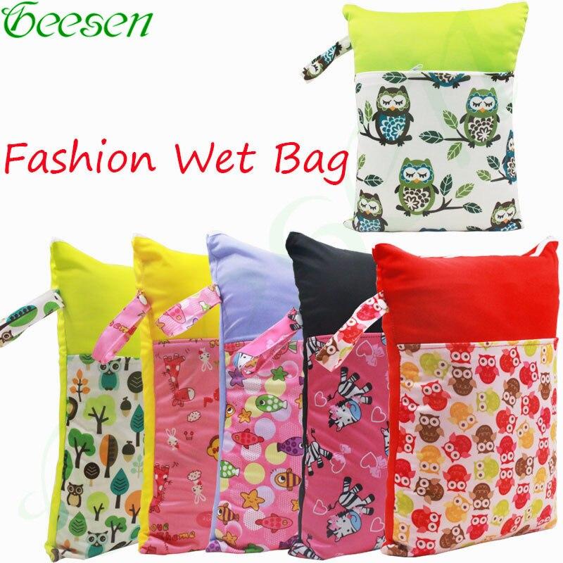Reusable Waterproof Diaper Wet Bag PUL Nappy Wet Bag Washable Double Pocket Cloth Diaper Wet Dry