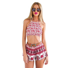FGirl Women's Suits 2 Piece Set Women Costume Top and Short Set Boho Cherry Pattern Two-piece Shorts Set FG30477