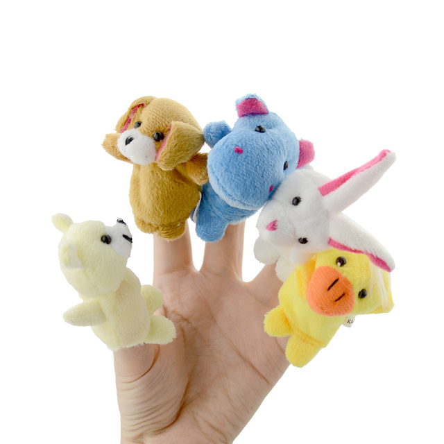 10Pcs/Lot Cute Animal Hand Puppets Baby Plush Toy Finger Puppet Tell Story Props Child Dolls&Stuffed Toys For Christmas Gift