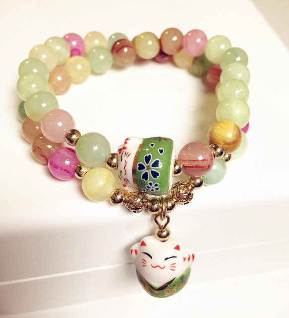 Lucky cat design multi-layer natural stone bracelet women Summer style fashion jewelry gift candy color pink purple