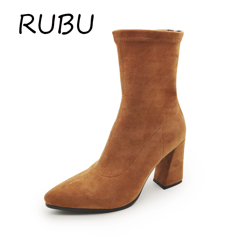 Women Boots Snow Winter High Thin Heels Metal Pointed Toe Zip Fashion Gladiator Rivet Brown Black Shoes Woman Boot Size US 5-8.5 meotina winter women knee high boots snow boots fur motorcycle boots pointed toe high heels shoes zipper black brown size 10 43