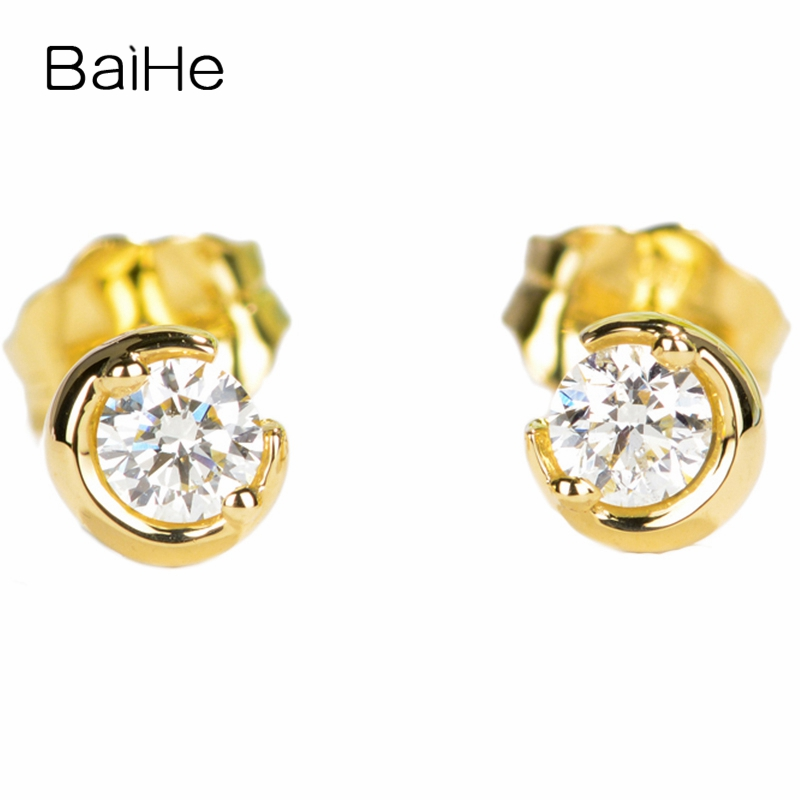 BAIHE Solid 14K Yellow Gold 0.16CT H/SI Round cut 100% Genuine Natural Diamond Wedding Trendy Fine Jewelry Elegant Stud EarringsBAIHE Solid 14K Yellow Gold 0.16CT H/SI Round cut 100% Genuine Natural Diamond Wedding Trendy Fine Jewelry Elegant Stud Earrings