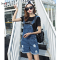 Fashion Summer Overalls Women Striped Loose Holes Short Jeans Jumpsuits Pants Large Size Denim Rompers Combinaison Femme