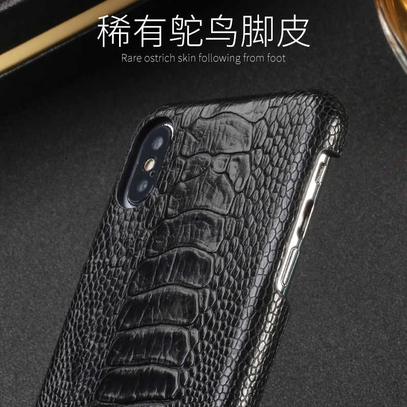 Funda de teléfono de piel de avestruz genuina 100% para iPhone X de Apple 11 Pro Max XS XR XSMAX 8 8 Plus 7 7plus 6s 6 5 5S SE