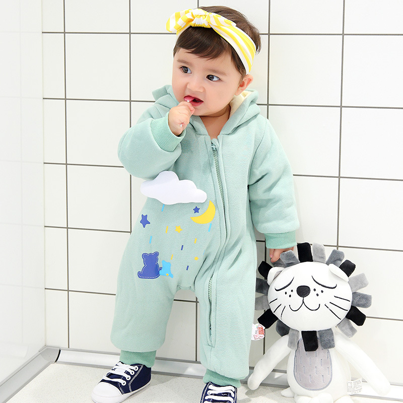 2018 Autumn Winter outfit clothes age 0-18m thick warm infant boutique costume solid blue color wither outfits 2018 autumn