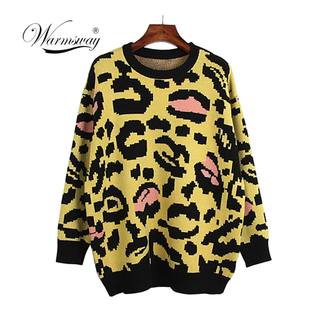 cd6dd39c5afb Multicolor Elegant Preppy Leopard Round Neck Office Lady Jumper New Autumn  Women Campus Highstreet Pullovers Sweater C-312