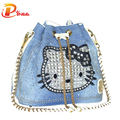 New 2016 Women Bag Famous Brand Handbags Denim Rhinestones Shoulder Bags Tassel Drawstring Bucket Bag