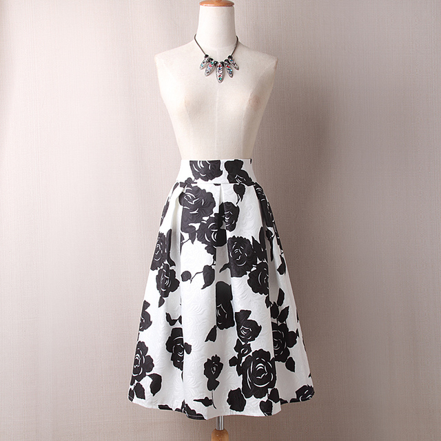 Size S-XL Zipper Close Vintage Flower Skirt Women Summer New Design Knee-Length Print Pleated Falda Fashion Floral Midi Skirt