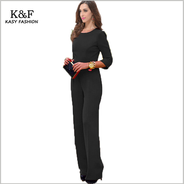 2016 women sexy evening formal jumpsuits rompers XXL clubwear solid black/red long sleeve backless bodysuit for nightwear party