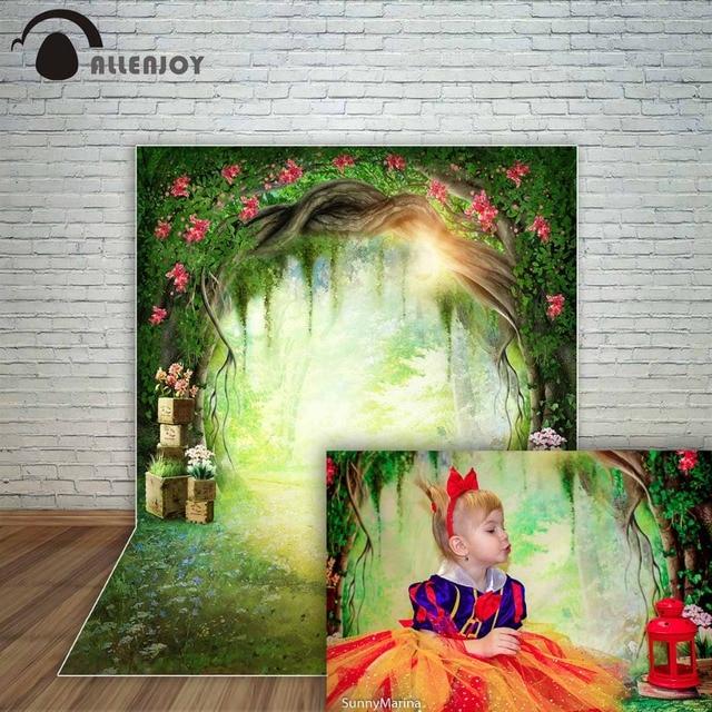 Allenjoy spring backdrop cave sunshine flowers path wonderland background for children fairy tale fund decorations party