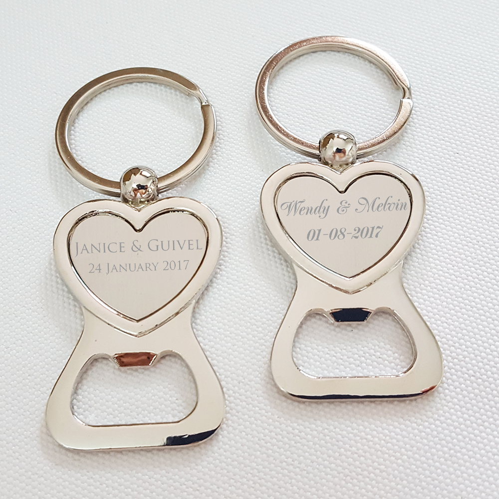 Silver Keychain with White Box Custom Bride and Groom Heart Key Ring ...