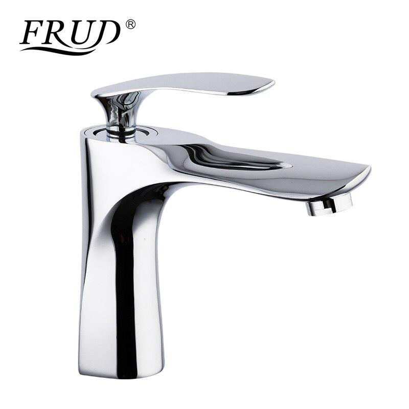 FRUD robinet de bassin d'eau chaude et froide pour robinet de salle de bain mitigeur évier lavabo robinet Chrome plaqué Zinc robinets d'eau Y10054