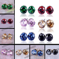 Free Shipping 8MM Colorful Shining Stud Earrings Big Luxury Austrian Crystal Female Earrings For Women Best Gifts Brand Jewelry