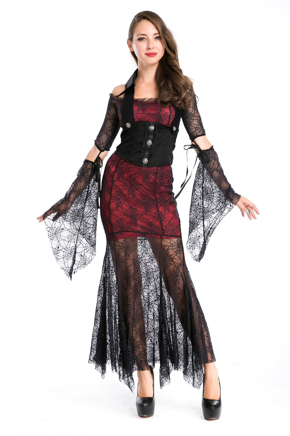 2017 hot Gothic style Women Halloween Costume black Spider lace tight long dress Vampire cosply costume