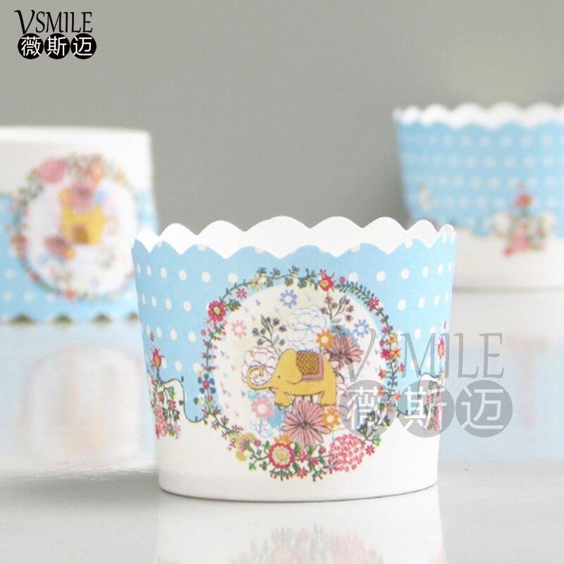 Discreet 100 Stks Blauw Roze Olifant Witte Stippen Katten Dinosaurus Peter Konijnen Puppy Eend Dieren Aap Muffin Cupcake Papier Bakken Taart Cup